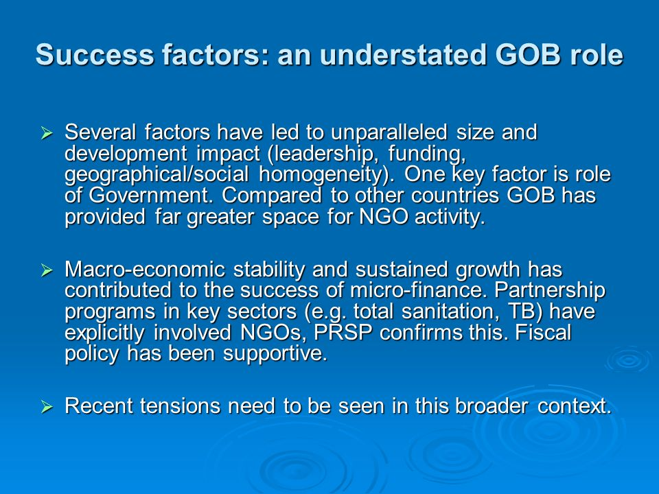 Success factors: an understated GOB role
