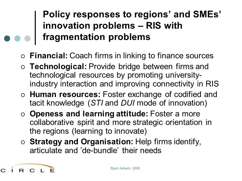 Policy responses to regions' and SMEs' innovation problems – RIS with fragmentation problems