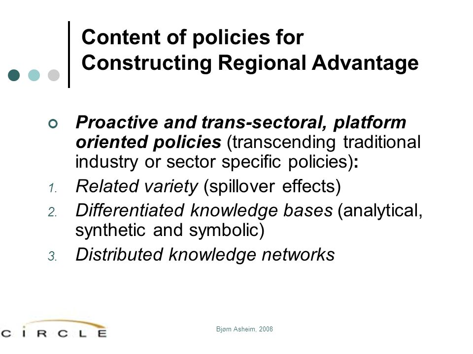Content of policies for Constructing Regional Advantage
