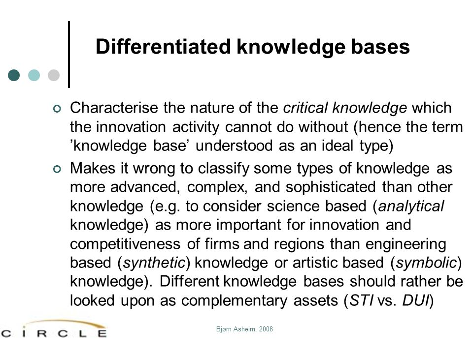 Differentiated knowledge bases