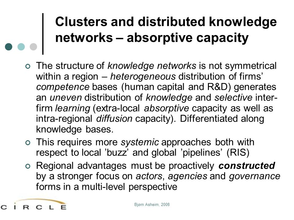 Clusters and distributed knowledge networks – absorptive capacity