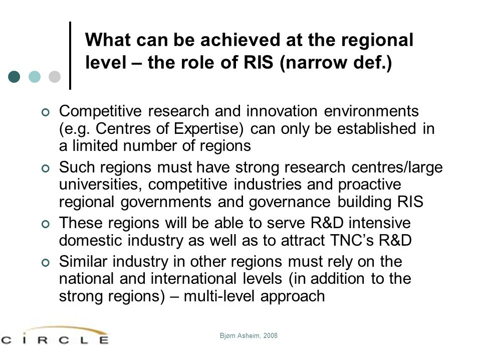 What can be achieved at the regional level – the role of RIS (narrow def.)