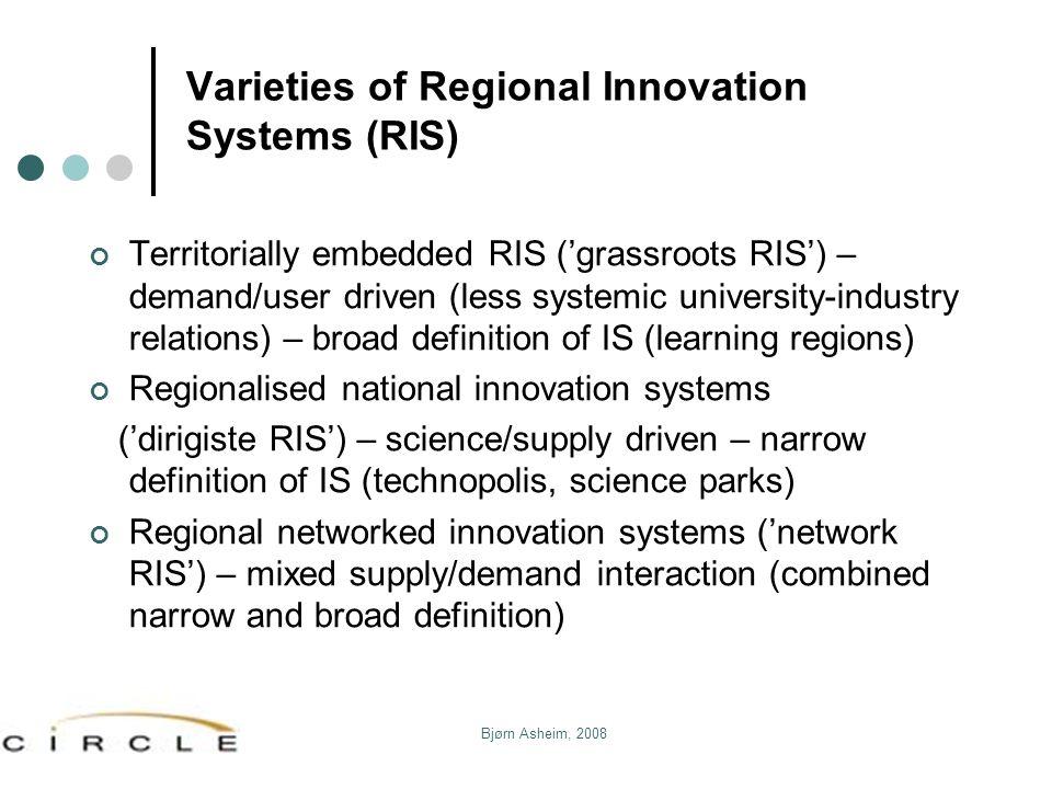 Varieties of Regional Innovation Systems (RIS)