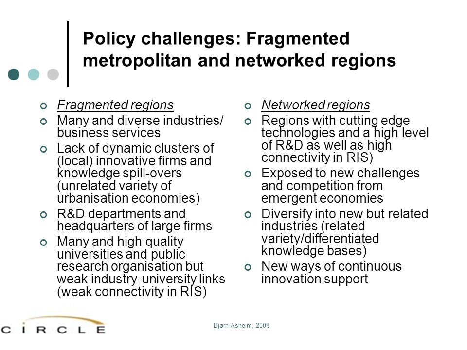 Policy challenges: Fragmented metropolitan and networked regions