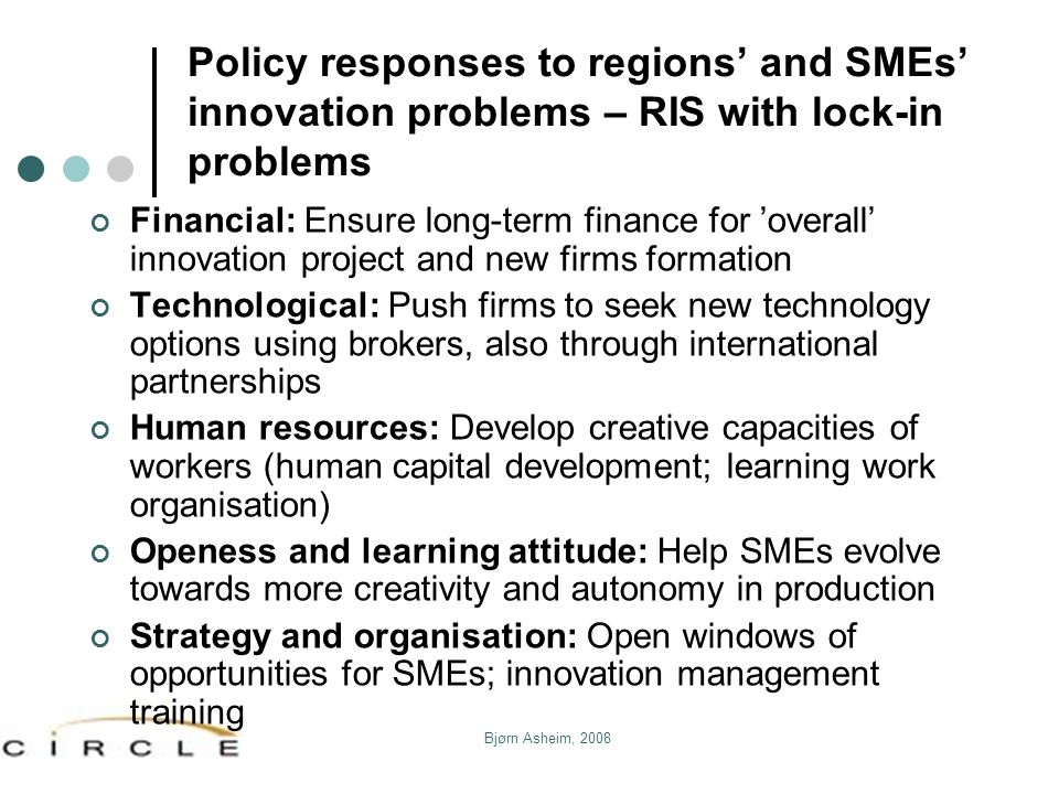 Policy responses to regions' and SMEs' innovation problems – RIS with lock-in problems