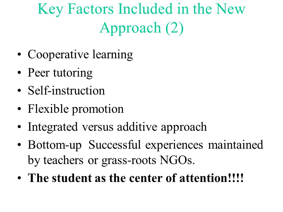 Key Factors Included in the New Approach (2)
