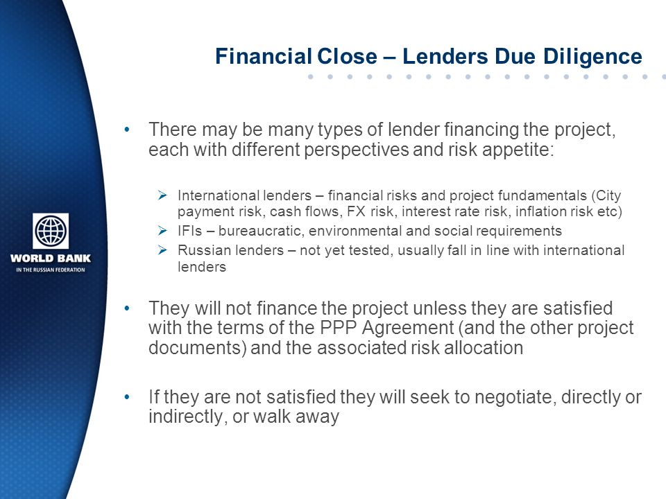 Financial Close – Lenders Due Diligence
