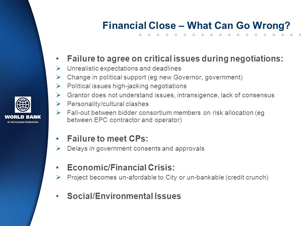 Financial Close – What Can Go Wrong