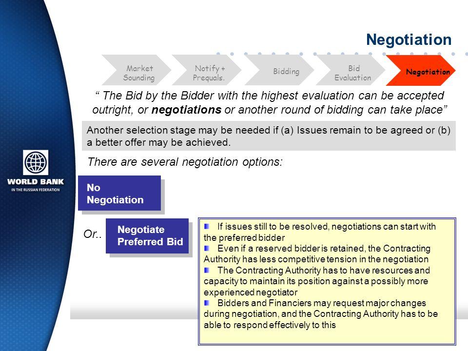 Negotiation Bid. Evaluation. Market. Sounding. Notify + Prequals. Negotiation. Bidding.