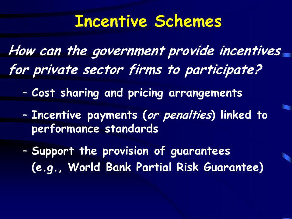 Incentive Schemes How can the government provide incentives