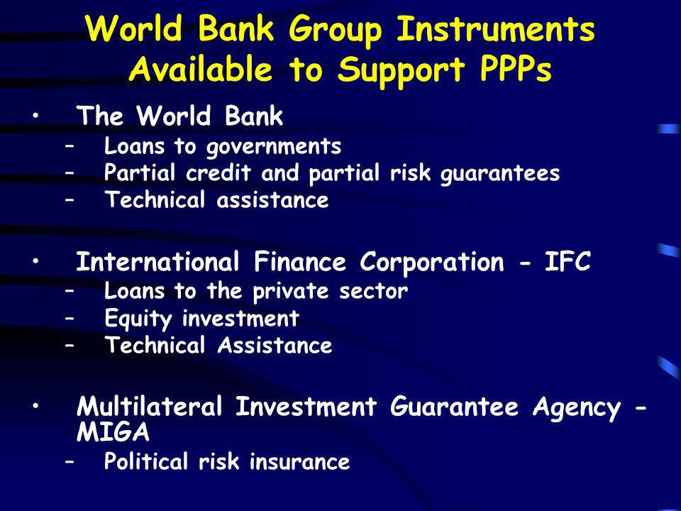 World Bank Group Instruments Available to Support PPPs