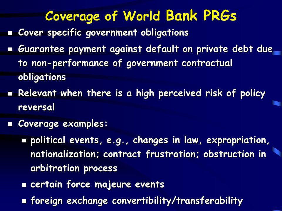 Coverage of World Bank PRGs