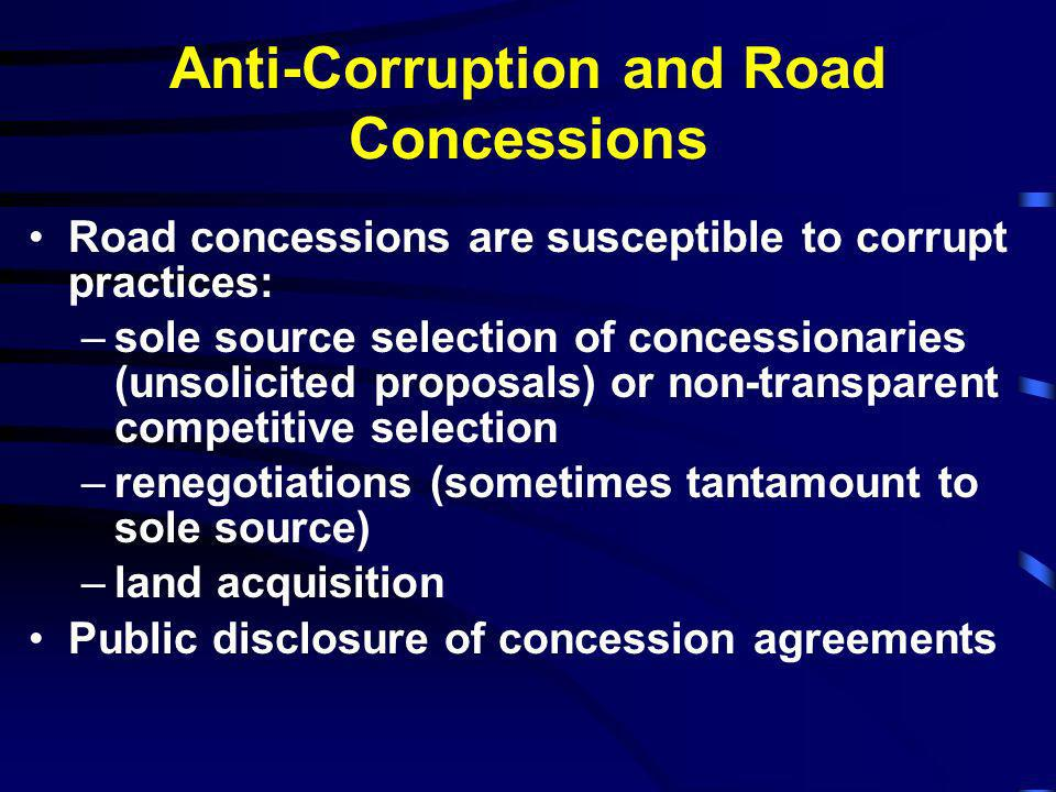 Anti-Corruption and Road Concessions