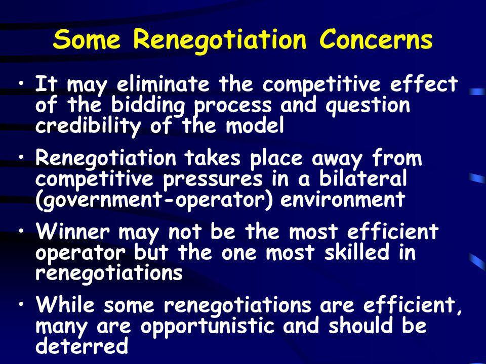 Some Renegotiation Concerns