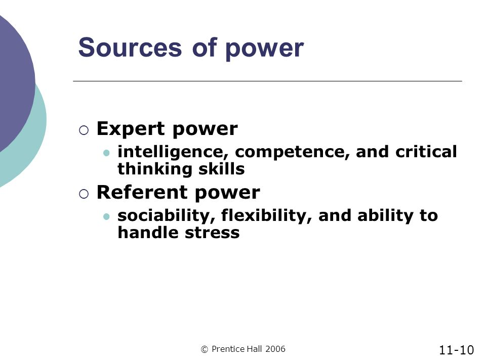 referent and expert power Although expert power was the best independent predictor of helpfulness, a significant interaction between referent and expert power indicated that when members reported high referent power.