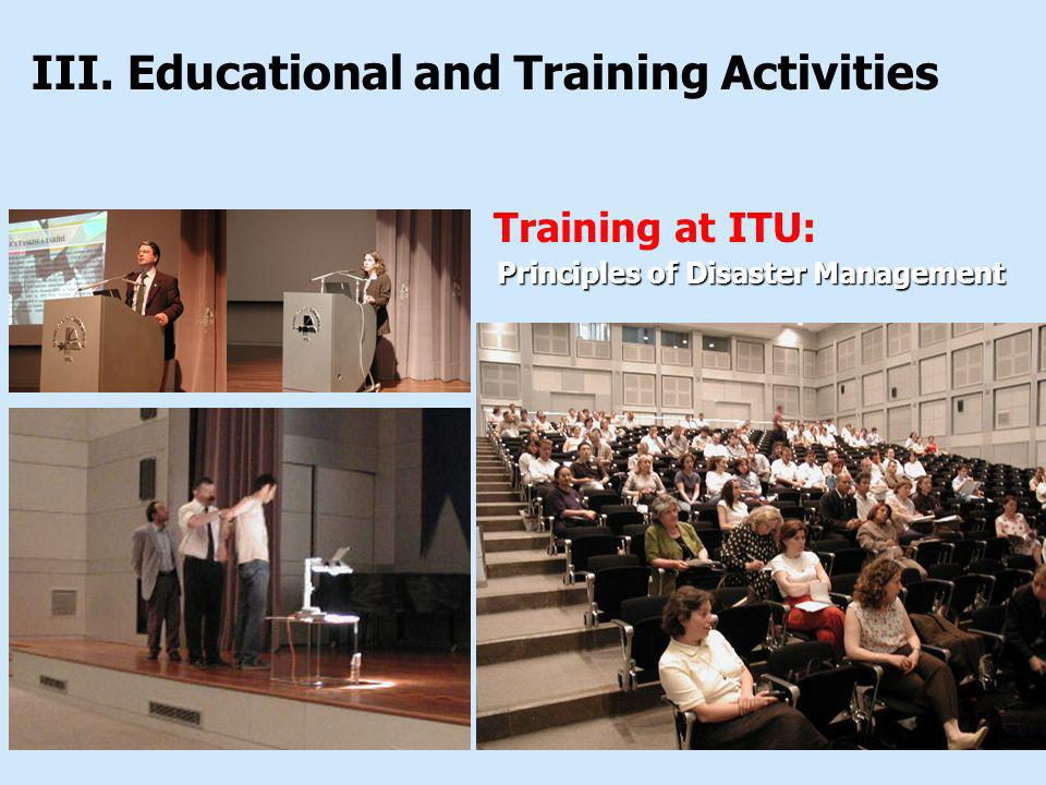 Training at ITU: III. Educational and Training Activities