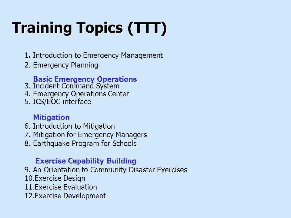 Training Topics (TTT) 1. Introduction to Emergency Management