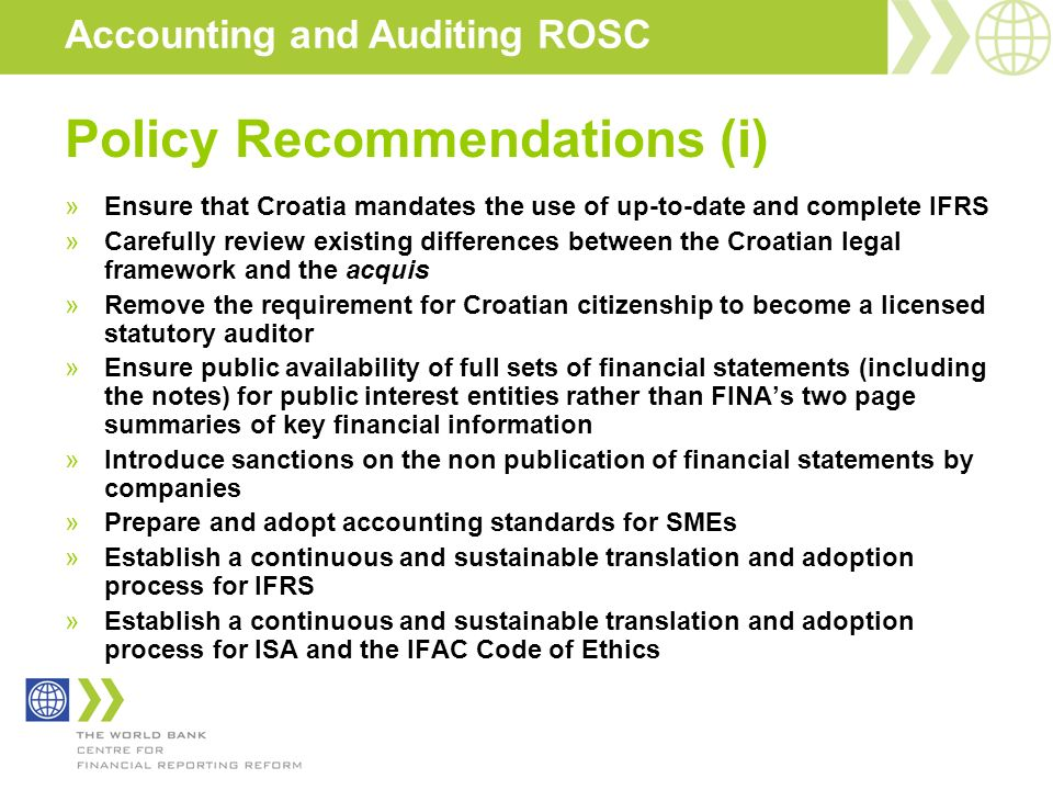 Policy Recommendations (i)