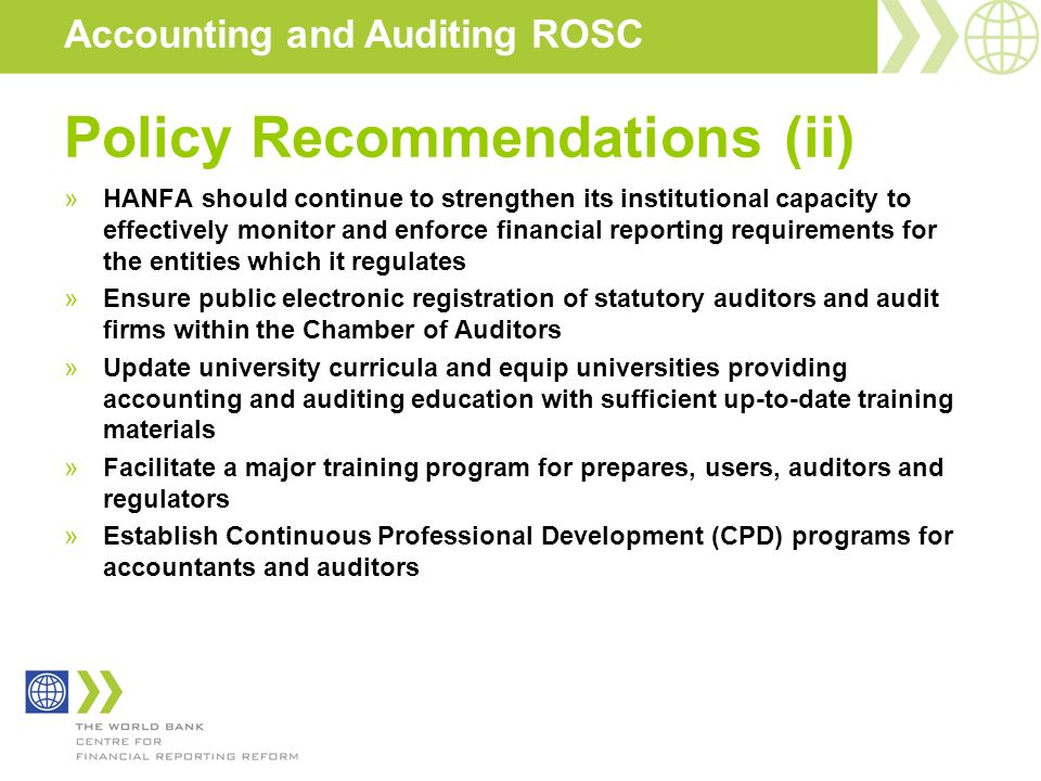 Policy Recommendations (ii)