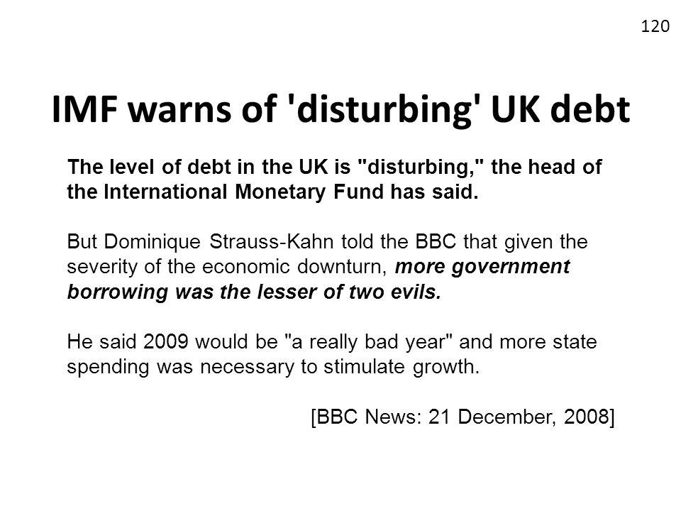 IMF warns of disturbing UK debt