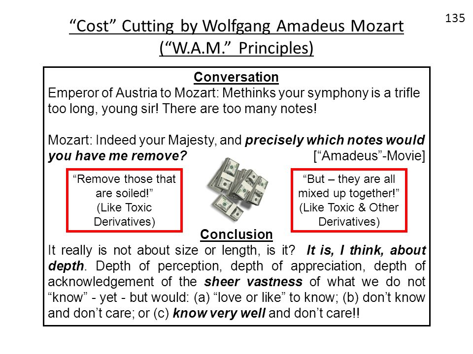Cost Cutting by Wolfgang Amadeus Mozart ( W.A.M. Principles)