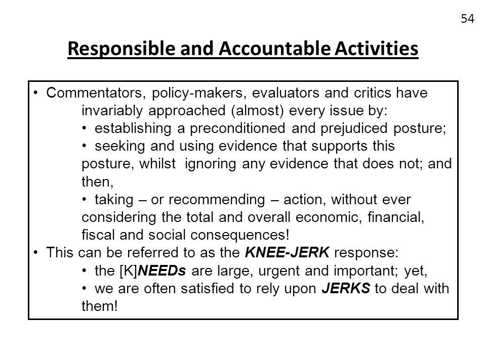 Responsible and Accountable Activities