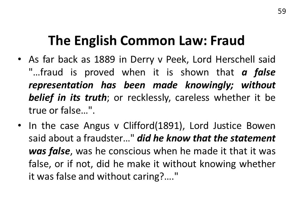 The English Common Law: Fraud