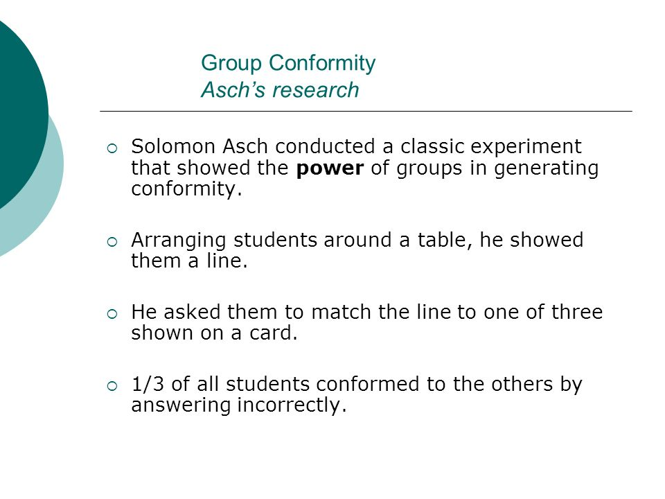 Group Conformity Asch's research