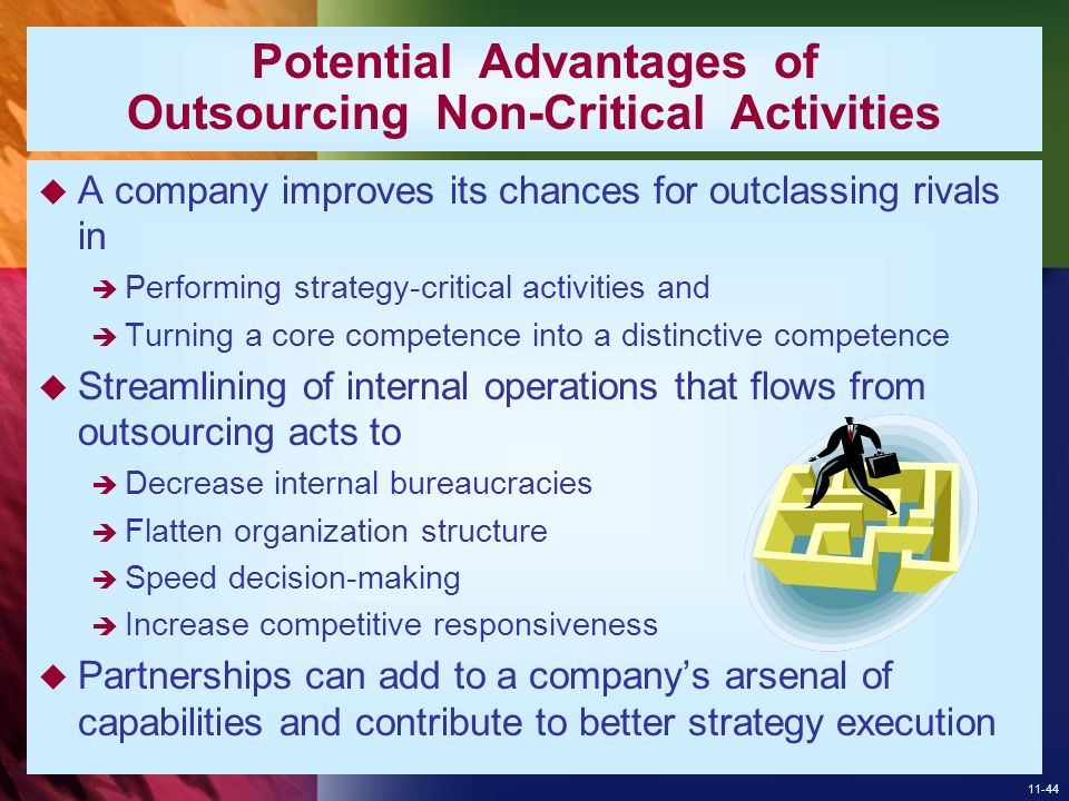 thesis on outsourcing of non core activities Companies often hear that by outsourcing their non-core activities, they can improve the performance of their core activities retain what is core and outsource what is non-core.