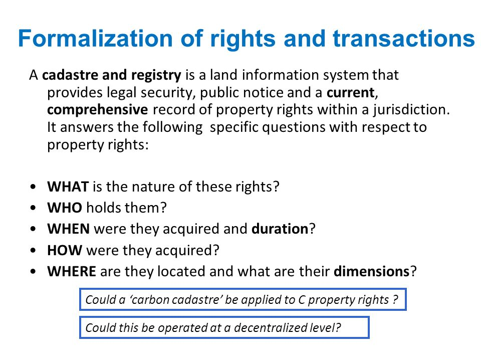 Formalization of rights and transactions