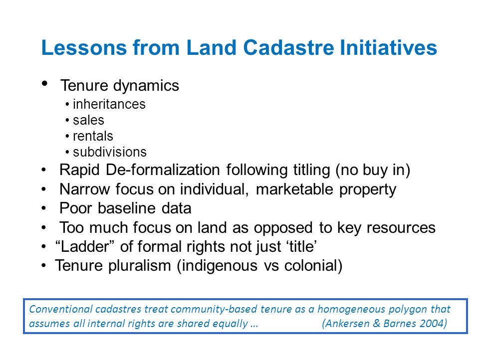 Lessons from Land Cadastre Initiatives