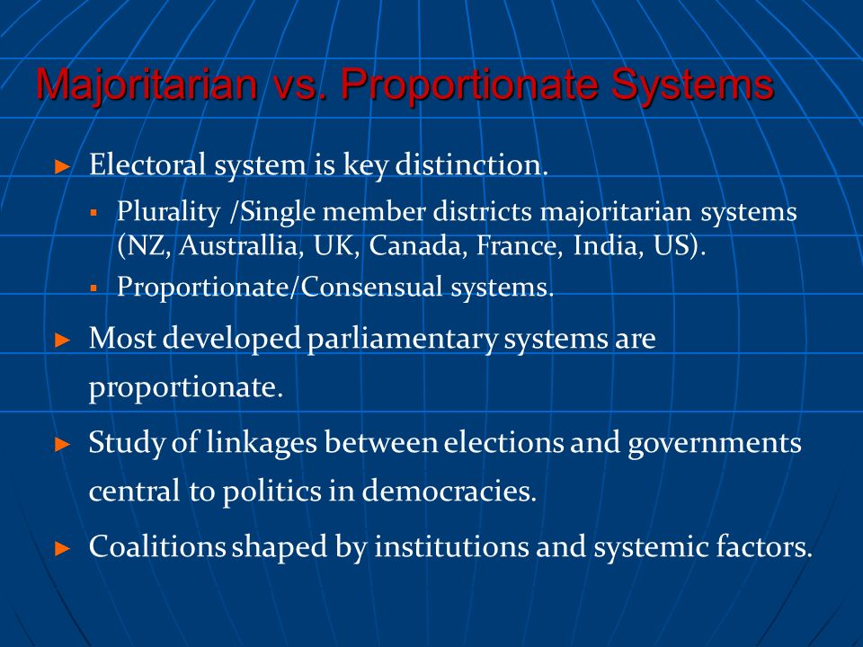 Majoritarian vs. Proportionate Systems