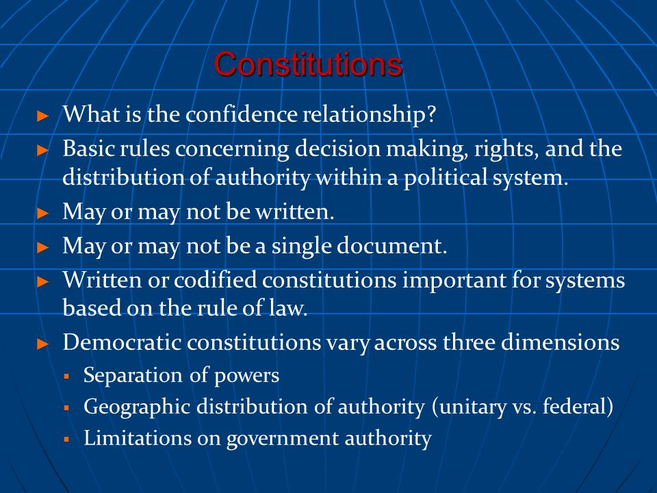 Constitutions What is the confidence relationship