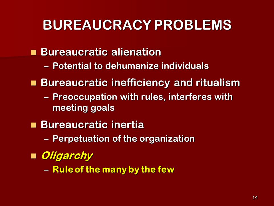 BUREAUCRACY PROBLEMS Bureaucratic alienation