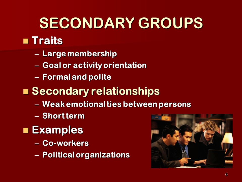 SECONDARY GROUPS Traits Secondary relationships Examples