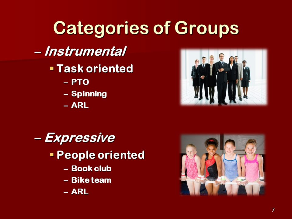 Categories of Groups Instrumental Expressive Task oriented
