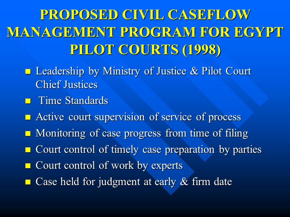 PROPOSED CIVIL CASEFLOW MANAGEMENT PROGRAM FOR EGYPT PILOT COURTS (1998)