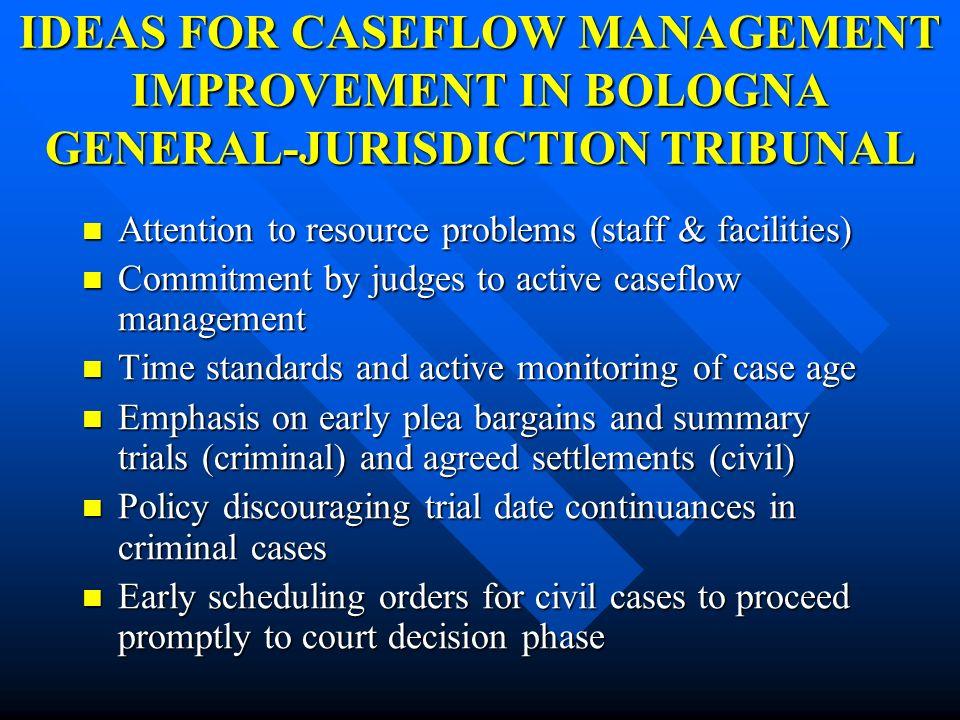 IDEAS FOR CASEFLOW MANAGEMENT IMPROVEMENT IN BOLOGNA GENERAL-JURISDICTION TRIBUNAL