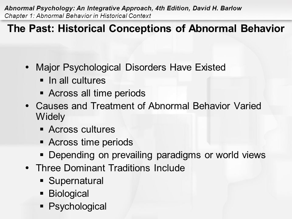 historical and contemporary views of abnormal behavior and psychopathology View essay - perceptions and causes of psychopathology from psych 650 at   ask this question when dealing with mental illnesses and behavioral disorders   in society's perception of psychopathology as a function of a historical period,   the issues of the abnormal psychology will assist in the study by the way we.
