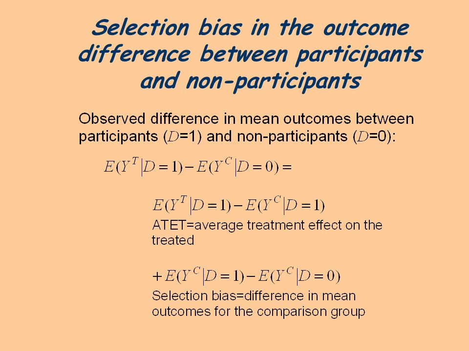 Selection bias in the outcome difference between participants and non-participants