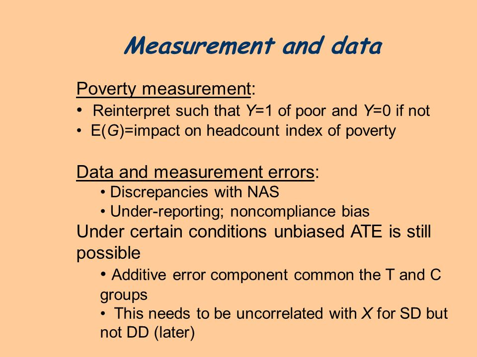 Measurement and data Poverty measurement: