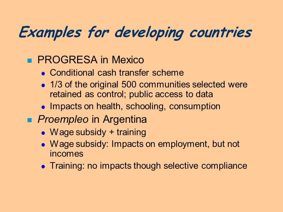 Examples for developing countries