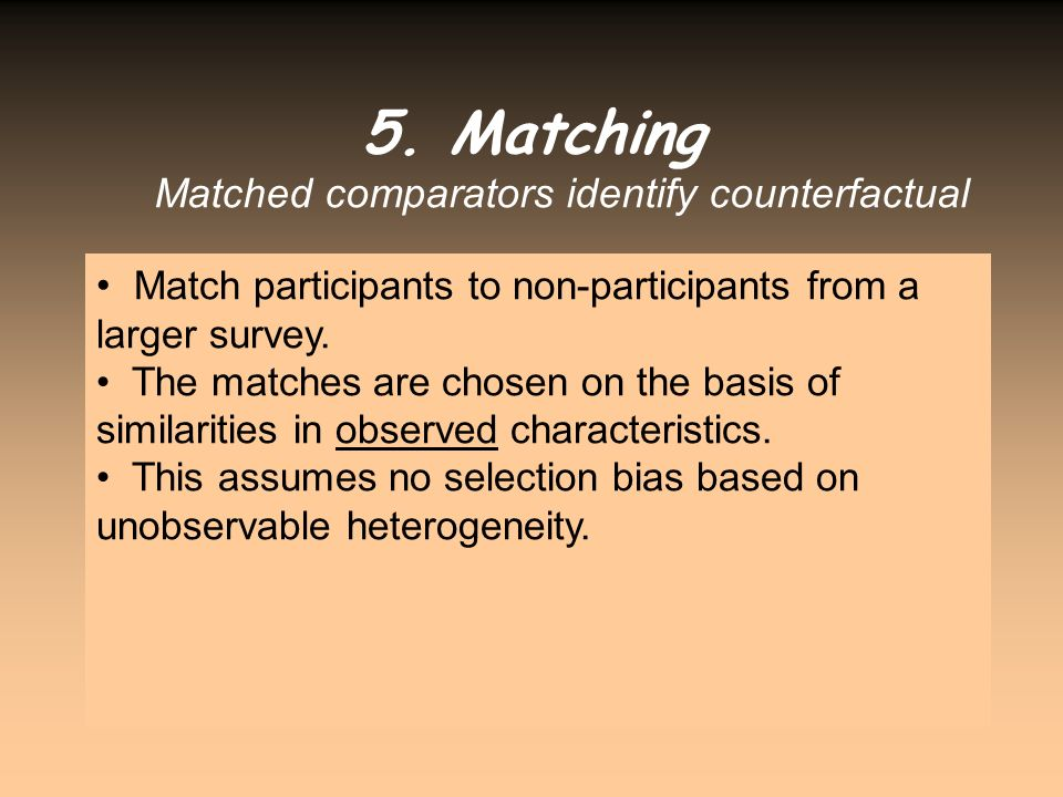 Matched comparators identify counterfactual