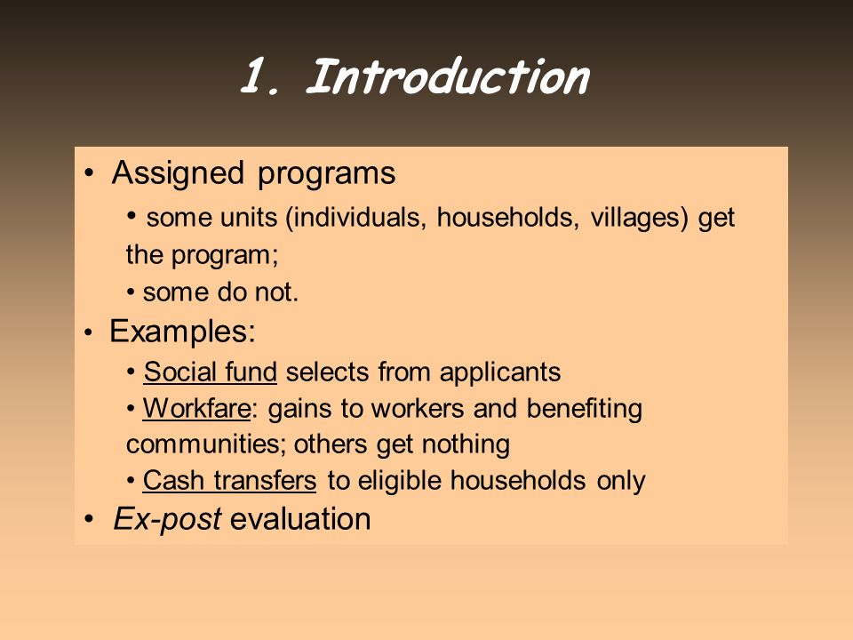 1. Introduction Assigned programs