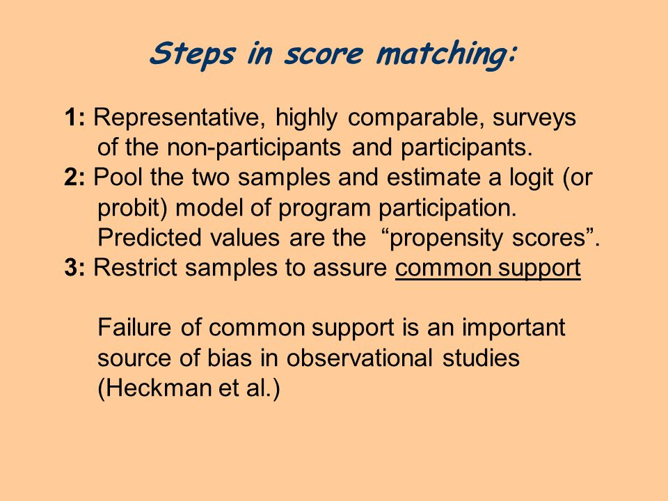 Steps in score matching: