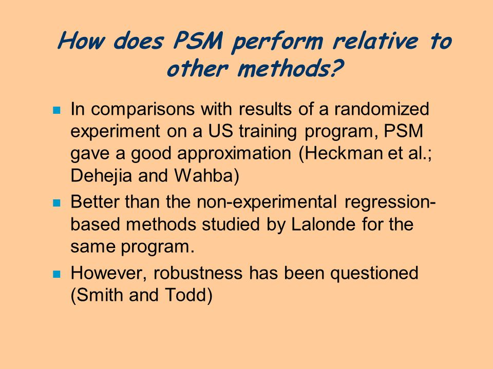 How does PSM perform relative to other methods