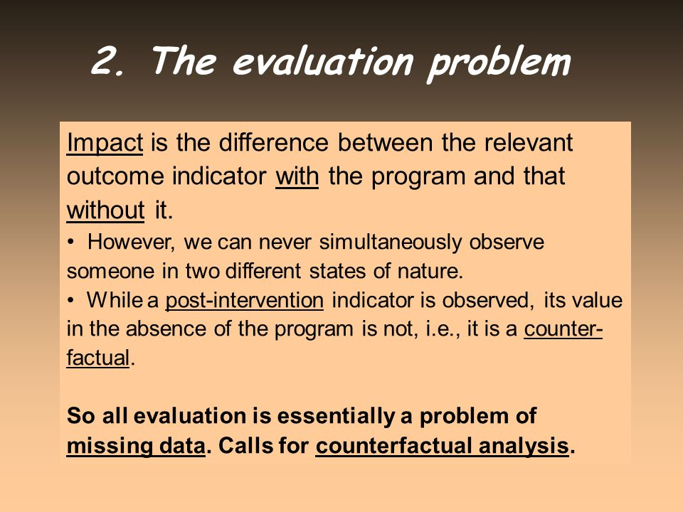 2. The evaluation problem