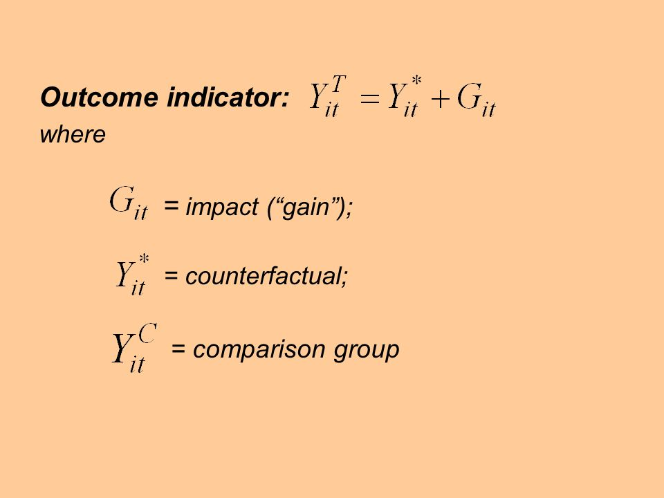 Outcome indicator: = impact ( gain ); = comparison group where