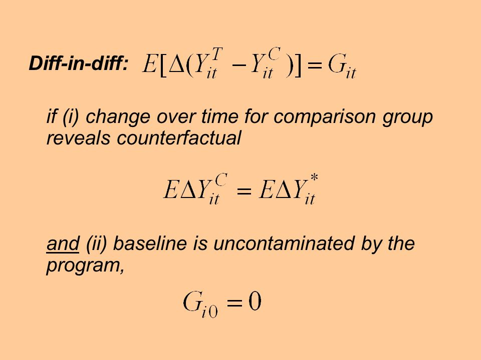 Diff-in-diff: if (i) change over time for comparison group reveals counterfactual.