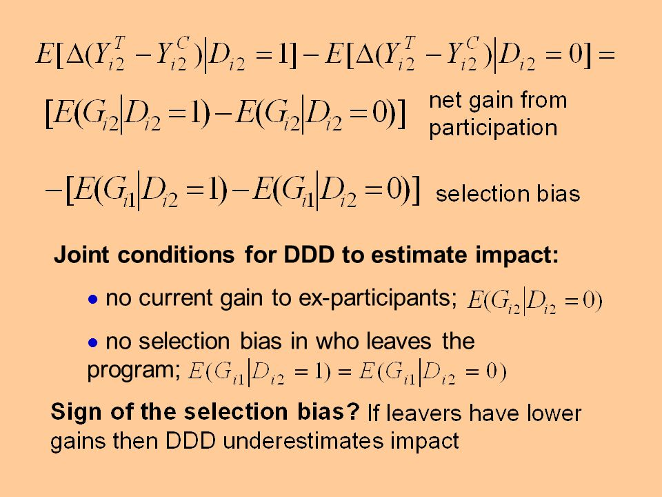 Joint conditions for DDD to estimate impact: